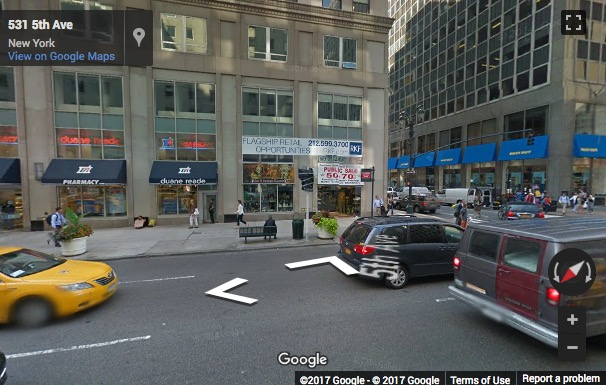 Street View image of 535 Fifth Avenue, New York, New York State, USA