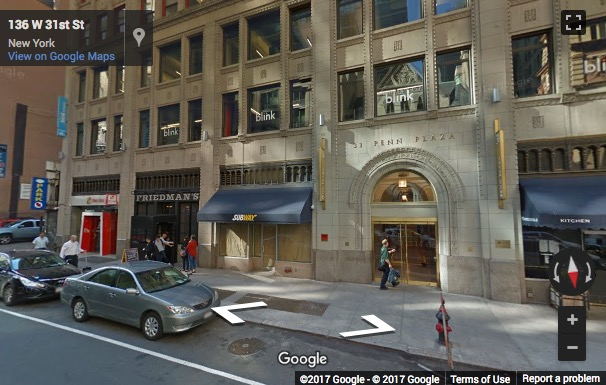 Street View image of 31 Penn Plaza, 15th Floor, 132 West 31st Street, New York, New York State, USA