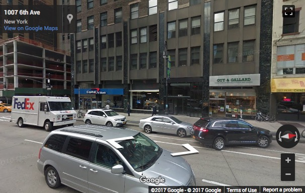 Street View image of 1001 Avenue of the Americas, 4, 11, & 12th Floors, New York, New York State, USA