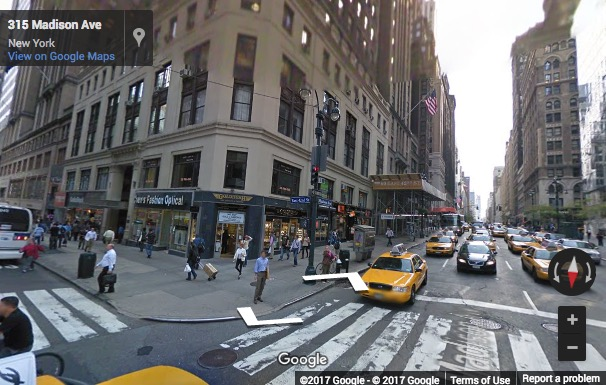 Street View image of 315 Madison Avenue, 3rd and 4th Floor, New York, New York State, USA