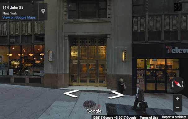 Street View image of 111 John Street, Suite 450, New York, New York State, USA