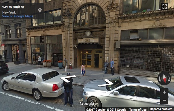 Street View image of 242 W 30th St, Suite No.404, New York, New York State, USA