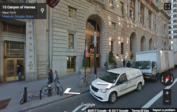 Street View image of 25 Broadway, 9th floor, Charging Bull, New York, New York State, USA