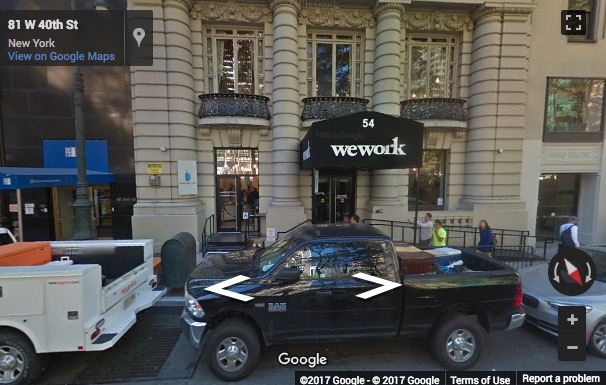 Street View image of 54 West 40th Street, 1st floor, Bryant Park, New York, New York State, USA