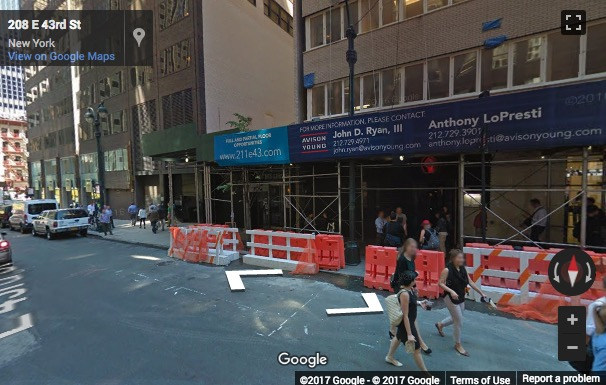 Street View image of 211 East 43rd Street, Floor 7, New York, New York State, USA