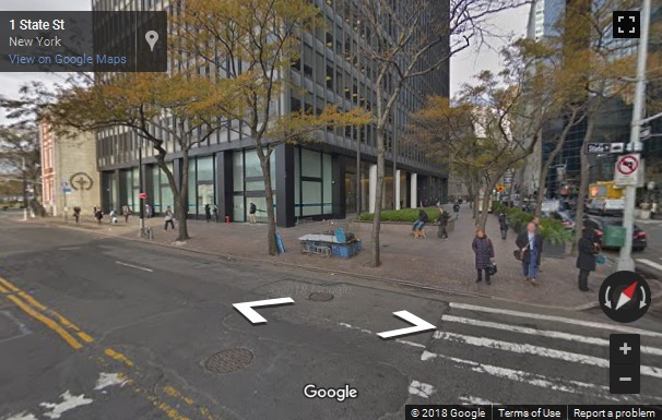 Street View image of 1 State Street Plaza, New York, New York State, USA