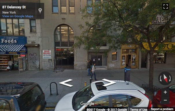 Street View image of 85 Delancey Street, 2nd Floor, New York, New York State, USA